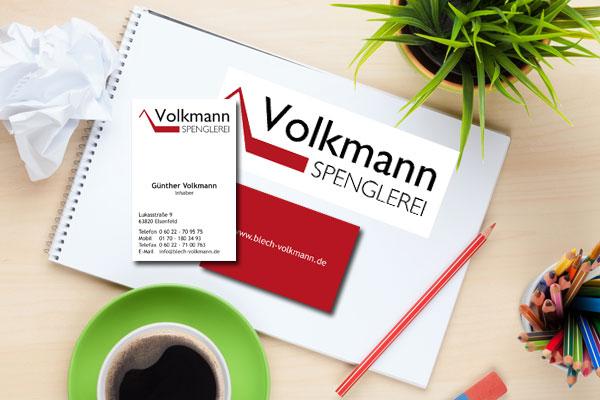 Logo und Visitenkarten Spenglerei Volkmann